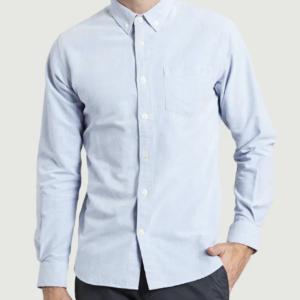 knowledge cotton apparel stand collar shirt gots