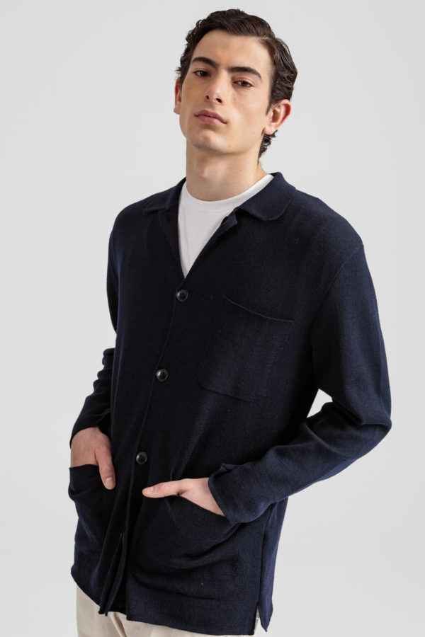 Knitted jacket plain navy owen pants plain beige