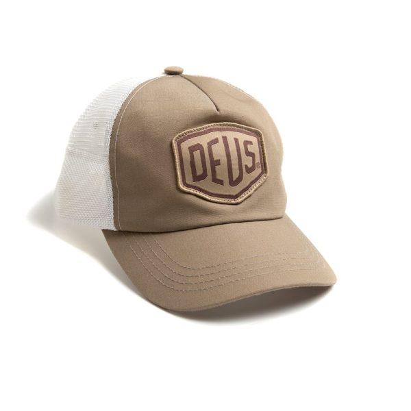 deus cap woven shield trucker beige